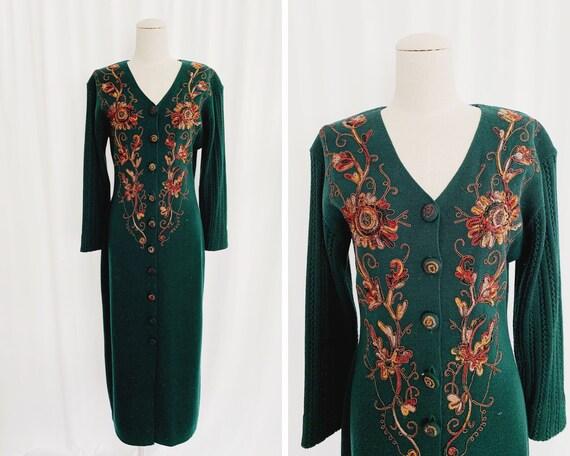 90s Medium Deep Green Sweater Dress
