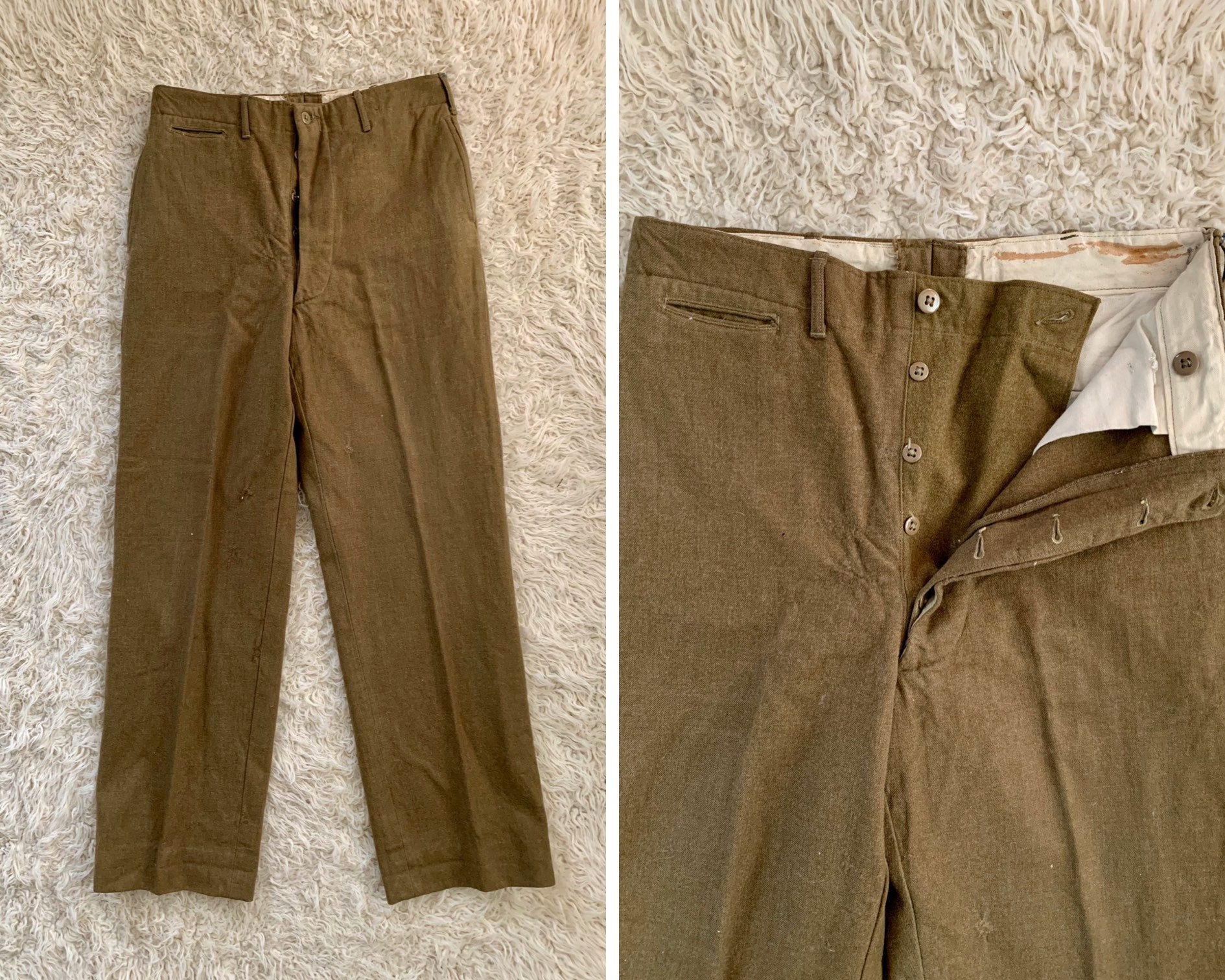 1940s Mens Ties | Wide Ties & Painted Ties 40S Mens 34 X 32 Wool Army Green Pants $15.00 AT vintagedancer.com