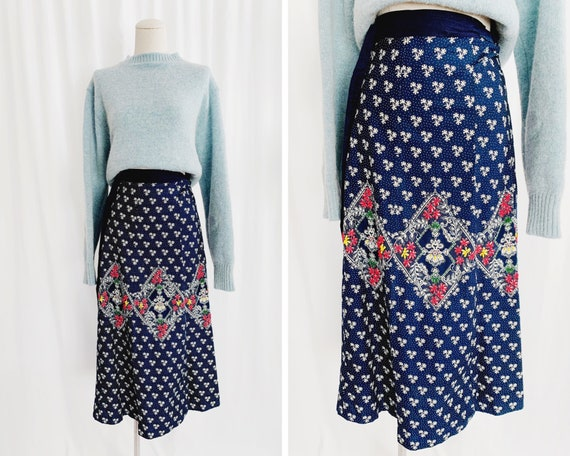 50s XS/S Hand Beaded Wrap Skirt