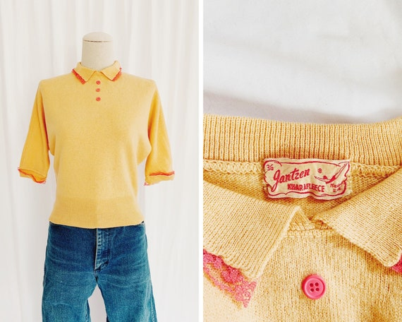 Authentic XS 40s/50s Jantzen Peach Sweater
