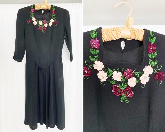 1940's XS Beaded Black Dress