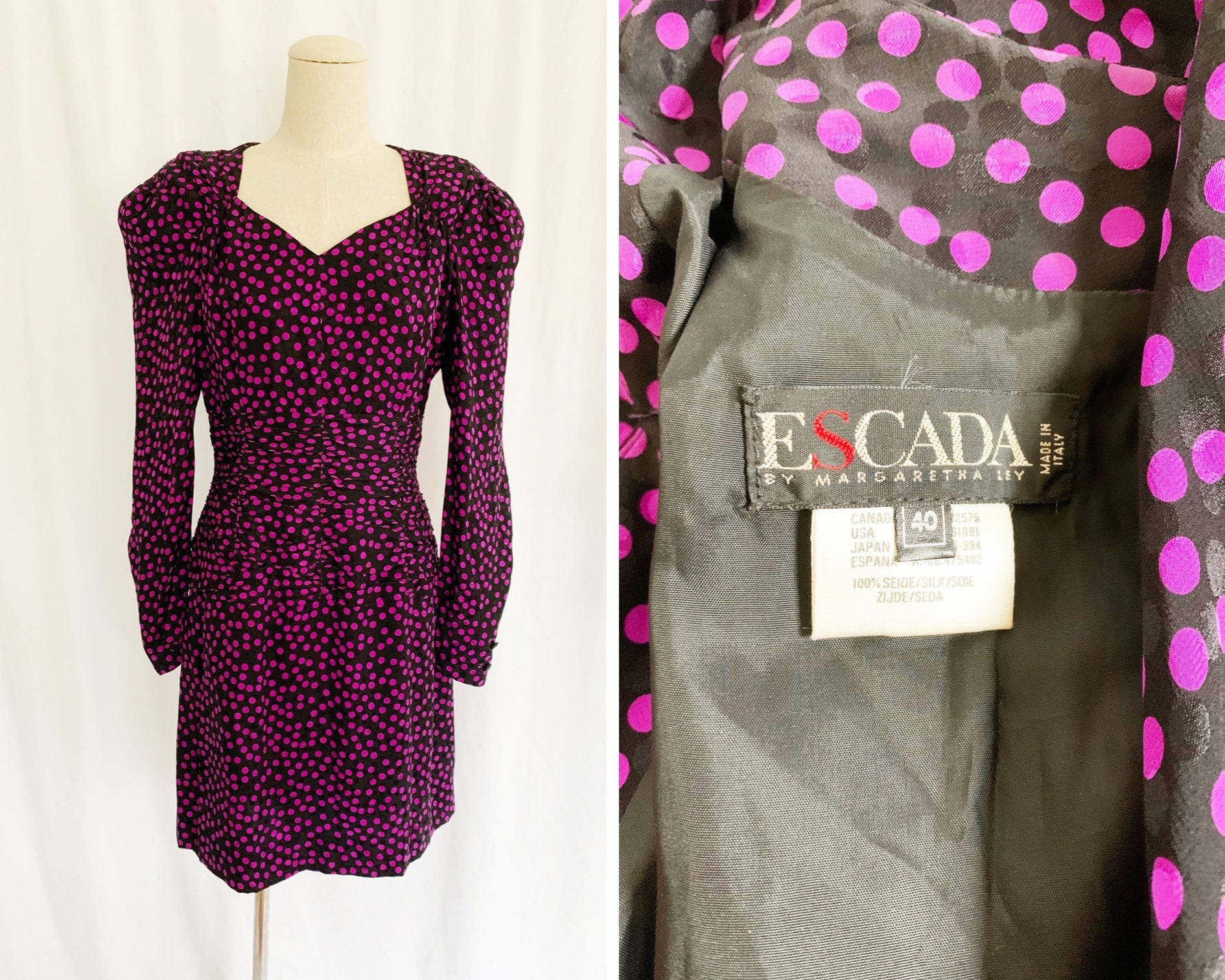 80s Dresses   Casual to Party Dresses 1980S Large Escada Silk Party Dress $30.00 AT vintagedancer.com