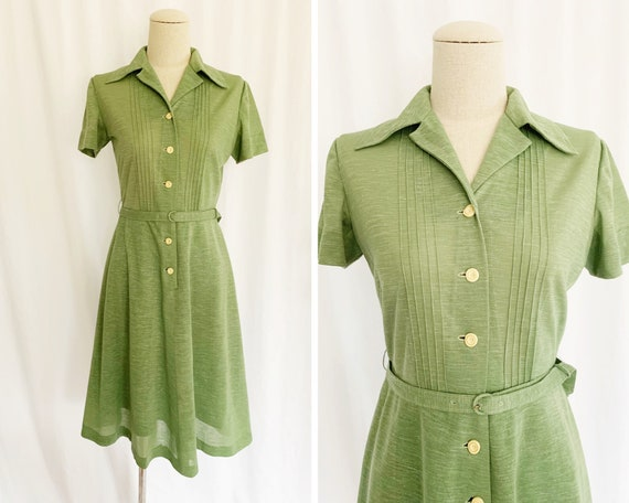 1940s XS Sage Green Day Dress
