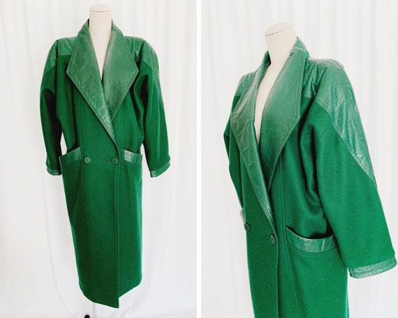Vintage 80s M/L Wool Forest Green Coat