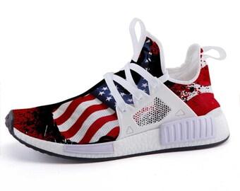 f5c4d2555bc6 USA Splatter Patriotic Grunge American Flag Sport Sneakers