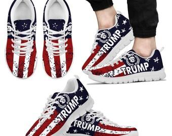 detailed look 2f039 f4d8f Boost Bounce Mesh Sneakers Trump Patriotic Flag Premium Sport Sneakers  MAGA