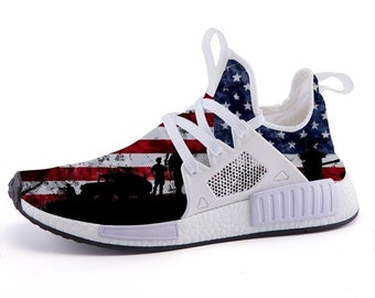 0ad302eb50a3 Custom NMD USA Patriotic Military Sports Sneakers