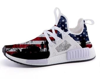 Custom NMD USA Patriotic Military Sports Sneakers 322537df1da