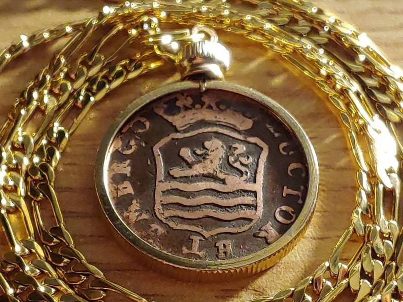 1794 Zeelandia Royal Netherlands Lion and Crown Gold Filled Copper Duit Coin Pendant Necklace with 18KGF Gold Filled Figaro Chain