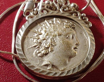 """Authentic 1820s French Napoleonic Silver Greek Revival, Neoclassical, Empire, Bezel Medal Pendant + 16"""" Italian Sterling Silver Snake Chain"""
