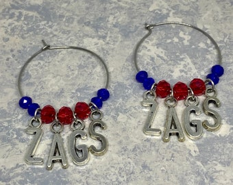 Gonzaga beaded choker with silver letter charms spelling ZAGS free shipping!
