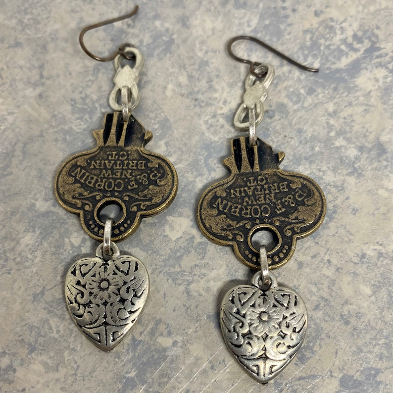 Long Statement Bronze Key and Antiqued Silver Heart Dangle Drop Earrings