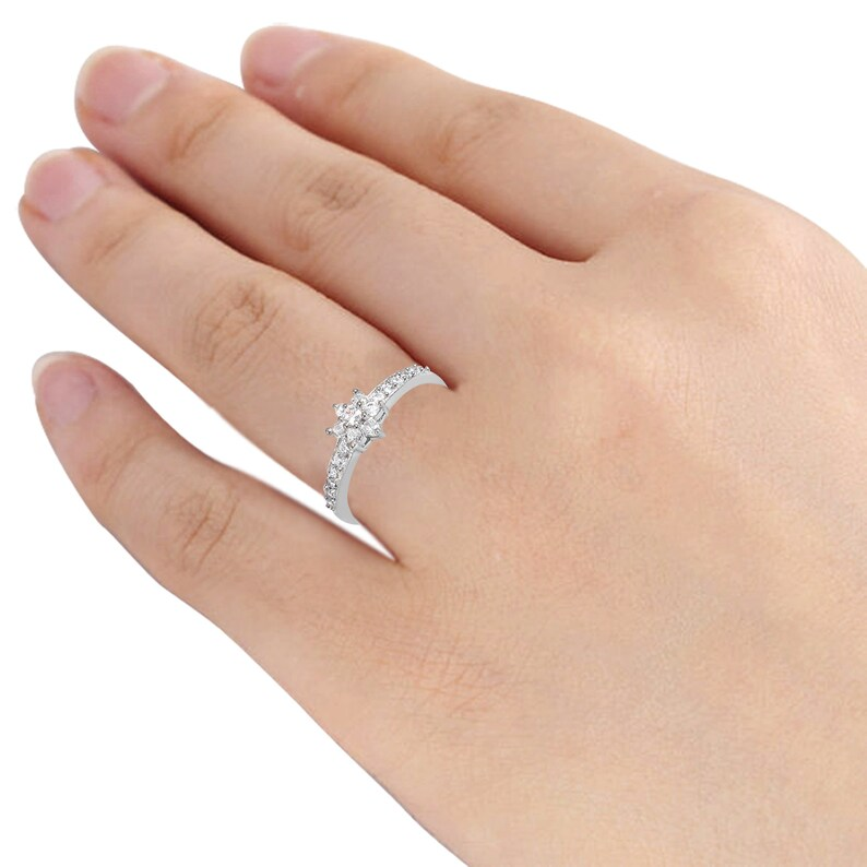 Halo Flower Ring Cubic Zirconia Engagement Ring Nature Inspired Ring Flower Engagement Ring