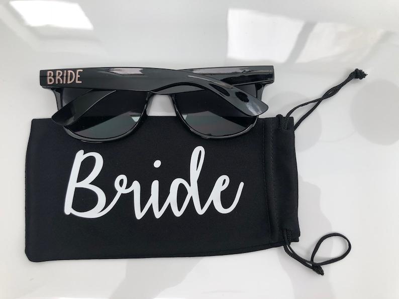 Bride Personalized Wedding Sun Glass Drawstring Pouch Groomsmen Groom Maid of Honor Custom Sunglass Soft case