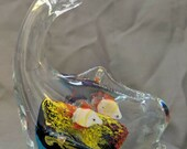Vintage Murano Style Glass Art Whale Shape Aquarium Paperweight