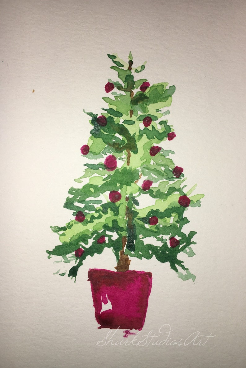 Christmas Tree Watercolor Painting Etsy
