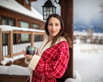 bd10900889 The Cabin Couture Robe - Montana Premium Bathrobe handmade of minky fleece  and flannel plaid - extra winter warm - mens womens - kitt plaid