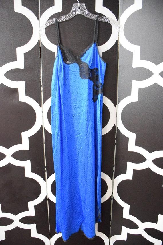 Vintage Vanity Fair Peignoir Set Nylon Blue Polka
