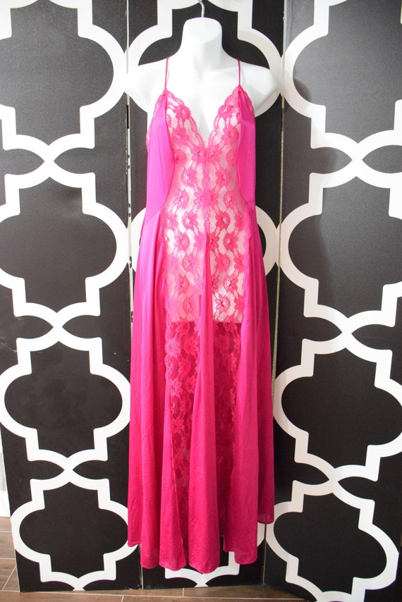 Vintage Val Mode Purple Nightgown All Nylon Lace S