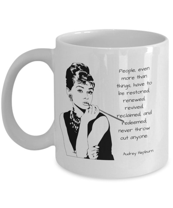 Audrey Hepburn People Quote Coffee Mug Drawing White Etsy
