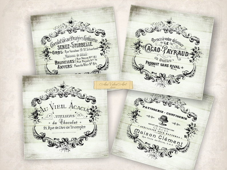 graphic regarding Printable Coasters identified as Traditional French labels Printable Coasters 4x4 Collage sheet Café Chocolate Shabby stylish Move visuals Electronic down load Shabby sbook card