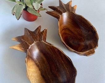 Vintage Wooden Carved Boho Pineapple Dish Bowl