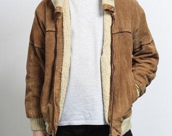 Mens Vintage Suede Aviator Fleece Sheepskin Jacket Retro Coat d664b1e07