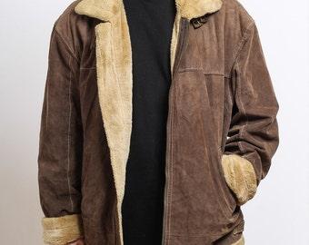 Mens Vintage Suede Fleece Aviator Jacket Retro Sheepskin Coat 11ff982f5