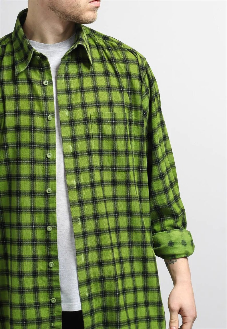 Mens Vintage Corduroy Cord Shirt 90s