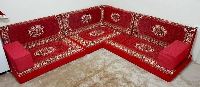 Red Corner Sofa, Arabic floor seating, Velvet sofa, Arabic Majlis, Jalsa