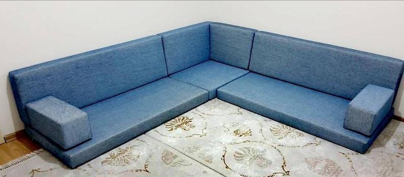 Blue Corner Sofa, floor seating, cotton fabric sofa,