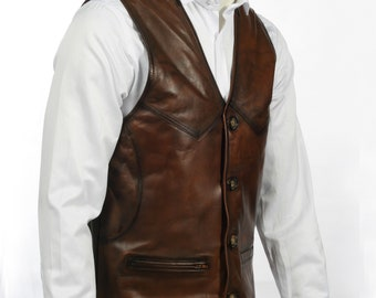 L Collarless Cordura Biker Waistcoat//Vest Black Real Leather Trim