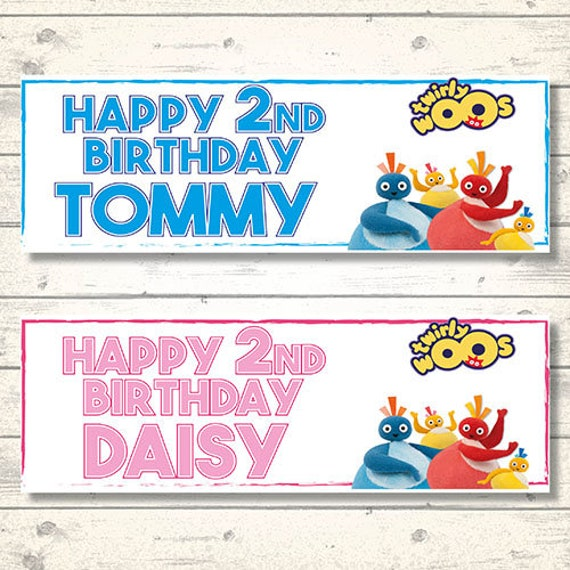2 Personalised Twirly Woo Birthday Party Celebration Banners Decoration Posters