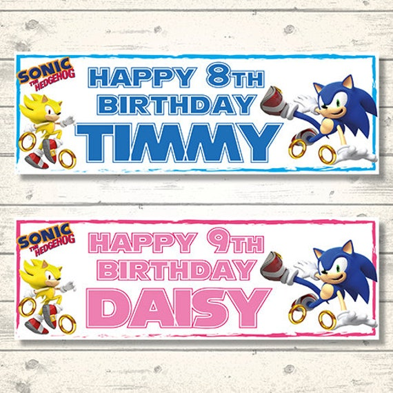 2 Personalised Sonic The Hedgehog Birthday Banners Any Name Etsy