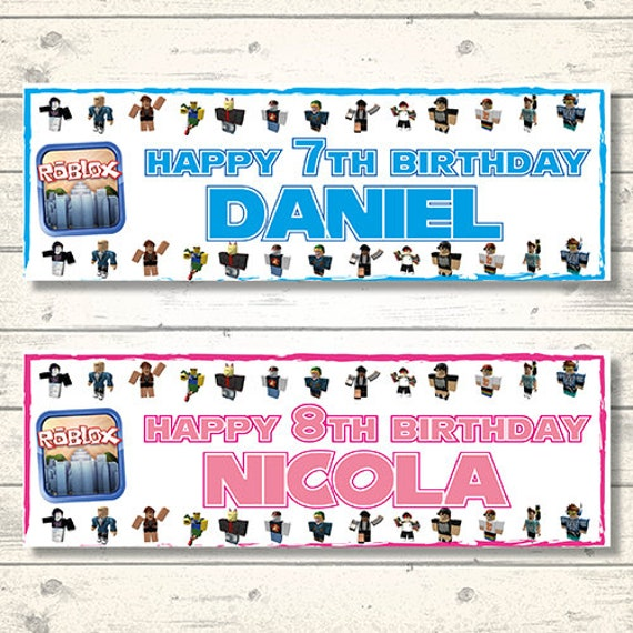 2 Personalised Roblox Birthday Banners Any Name And Any Age Etsy