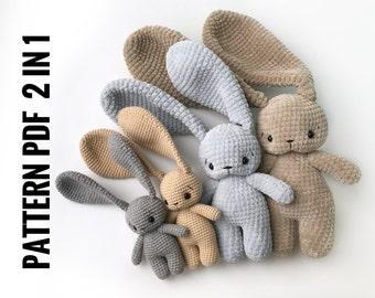 PDF Pattern 2 in 1 Crochet Toy Cute Bunny Long Ears and Mini Bunny Long Ears Amigurumi Pattern