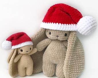 PDF Pattern Crochet Toy Cute Bunny Long Ears in Santa Hat Amigurumi Pattern