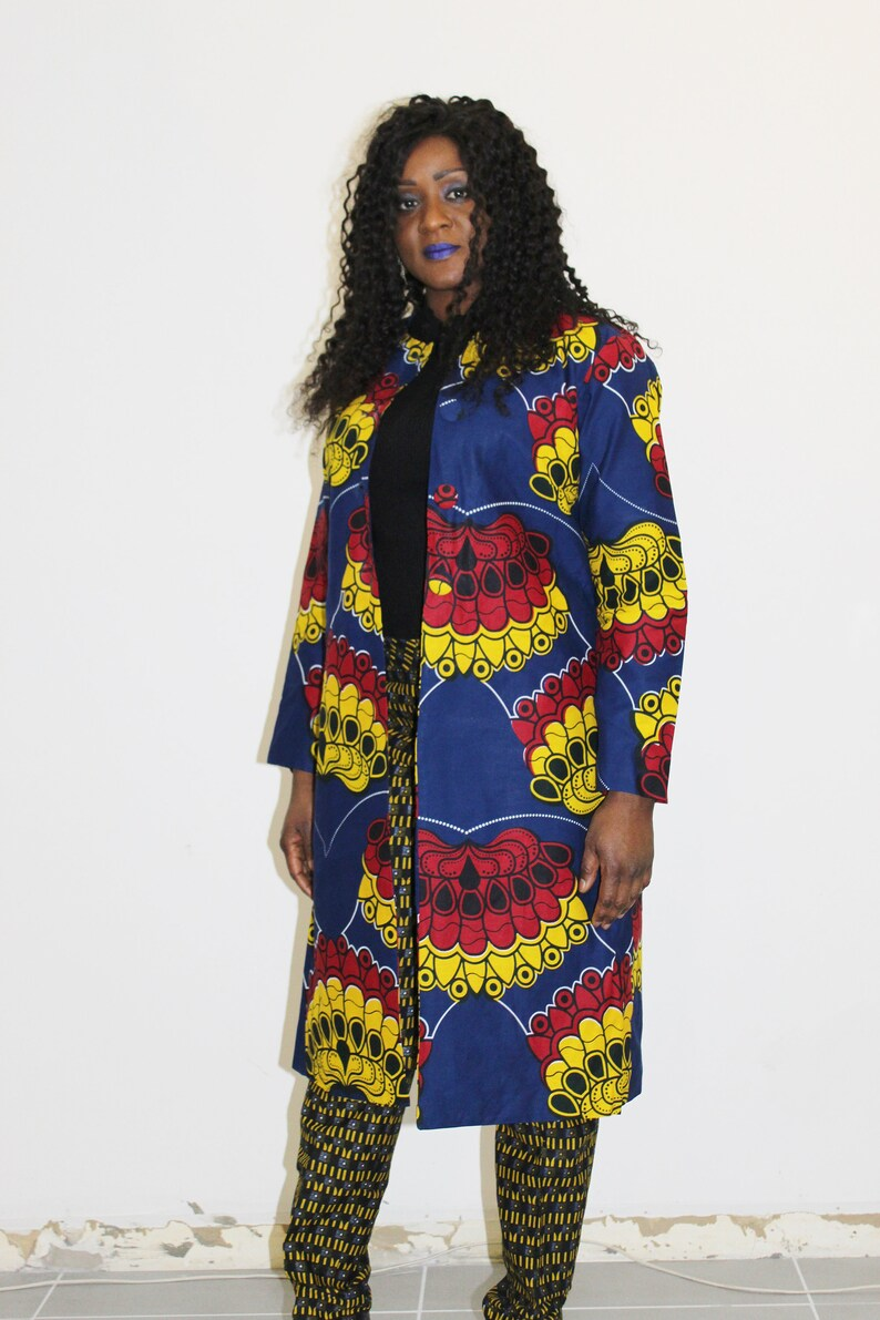 colorful jacket jacket woman African clothing knee-length jacket Jacket in wax african jacket ankara African wax print jacket