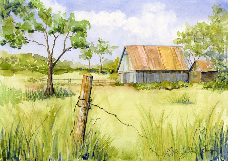 Rustic Old Country Barn Wire Fence Watercolor Country