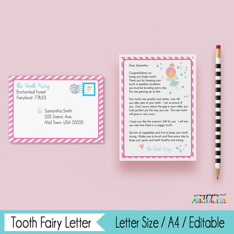 image about Tooth Fairy Printable Letter referred to as Enamel Fairy Letter - Fast Obtain - Editable - Printable - Teeth Fairy Printable - Edit With Adobe Reader - Teeth Fairy Fastened