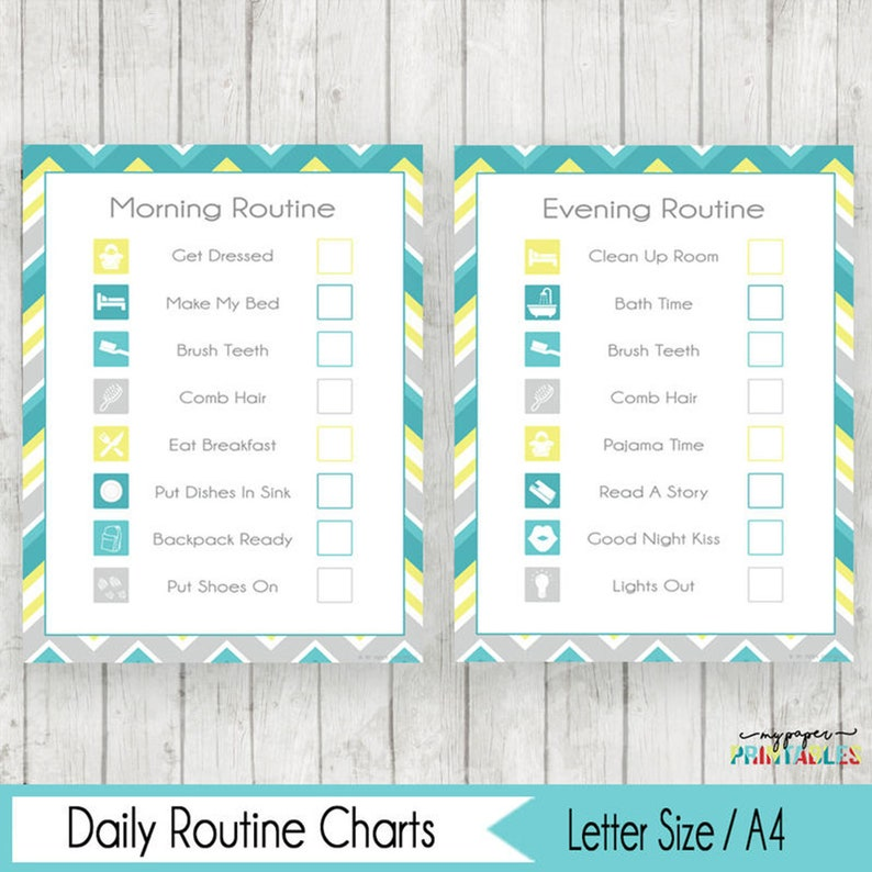 photograph relating to Morning Routine Checklist Printable called Early morning Night Schedule Chart Record Printable Early morning Plan Chart Early morning Little ones Chart Female or Boy