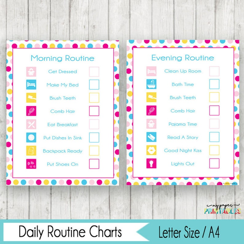 picture about Morning Routine Checklist Printable identified as Early morning Night time Program Chart List Printable Lady Early morning Agenda Chart Early morning Young children Chart