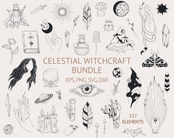 Witchcraft svg ClipArt, Witch svg tattoo, Crescent moon, Mystical SVG, Celestial SVG Cut file, Mushroom svg, Crystal, witch hand, Potion svg