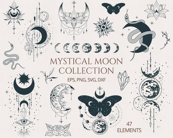 Moon Clipart, Floral Moon svg, Mystical Moon tattoo, Crescent Moon svg, Moon Phases svg cricut cut file, Celestial svg silhouette, Lotus svg