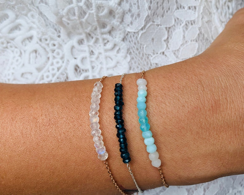 crystal bar birthstone jewelry Dainty Moonstone bracelet healing crystals
