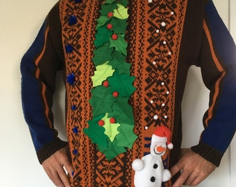 HOLLY - Men - T M - Ugly christmas sweater - Unique piece