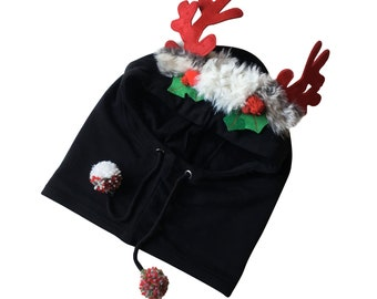 RUDOLPH - Christmas Hood - One size fits all - Unique piece decorated by hand