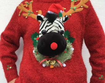 ZOU/ Woman - T44/46 - Ugly christmas sweater - Unique piece - New hand-decorated sweater