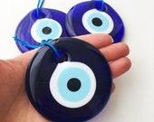 Blue evil eye, 7cm, evil eye wall hanging, greek evil eye, blue glass evil eye, evil eye home decor, large evil eye, christmas tree decor