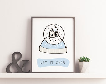 let it snow printable new year printable pdf wall decor christmas decor holiday season greeting cards